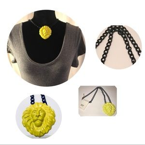 🌺AMI Lion head w/black chain necklace